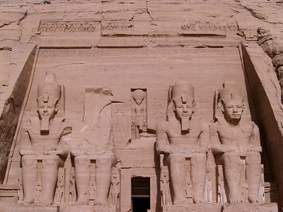 Egypt. Abu Simbel. Temple of Rameses II. The Statues are 65 feet high.