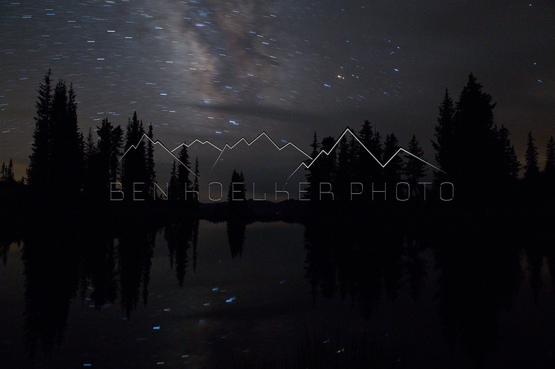 Reflection of the stars in the tarn on Paradise Divide, CO