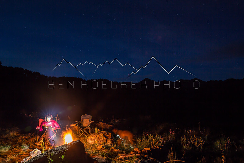 Christine Labadie reading during a Long Exposure at camp near Woods Lake, CO