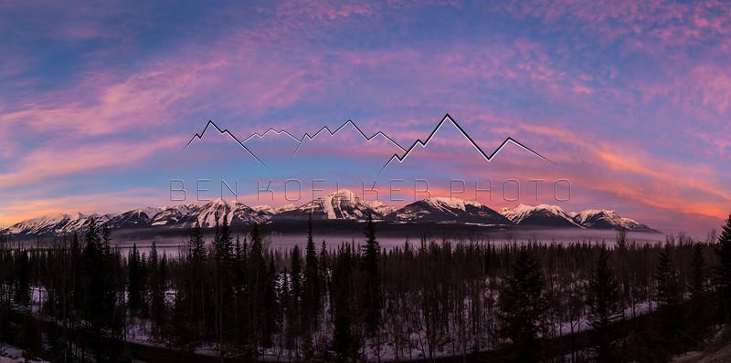 Sunrise near Golden, BC, Canada