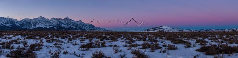 Teton Range, WY with alpenglow at sunset