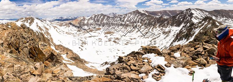 Joel Paula from the summit of 13,672' Mount Tweto, CO