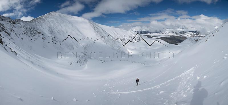 Mike Hood skinning up Pacific Peak, CO