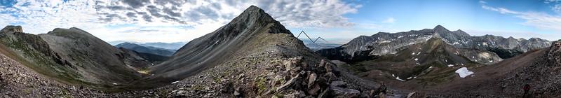 Panorama from 14,042' Mount Lindsey, Sangre de Cristo Range, CO