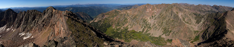 Panorama along The Grand Traverse in the Gore Range, CO.