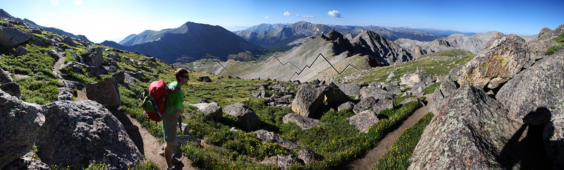 Panorama from 14,420 ft. Mount Harvard, CO
