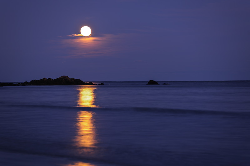 Moon rising over the beach
