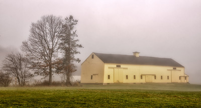 Barn on a foggy morning