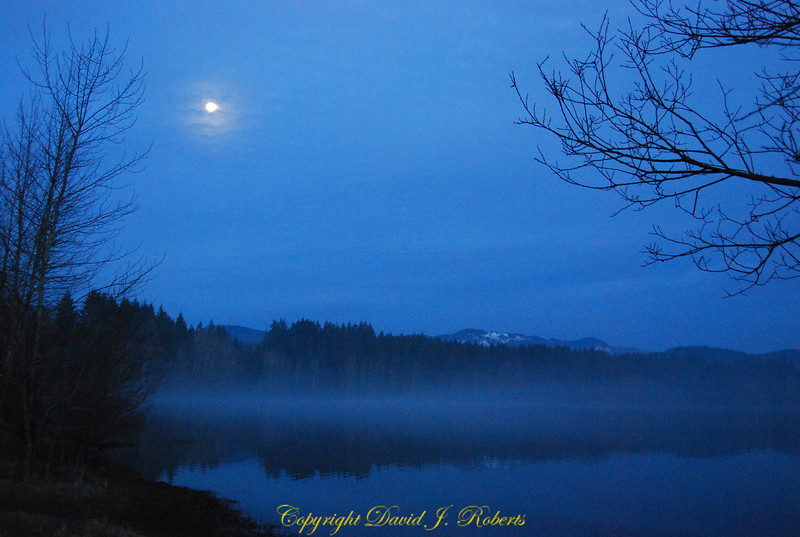 Lake Padden in the early evening as the mist is rising. Bellingham WA