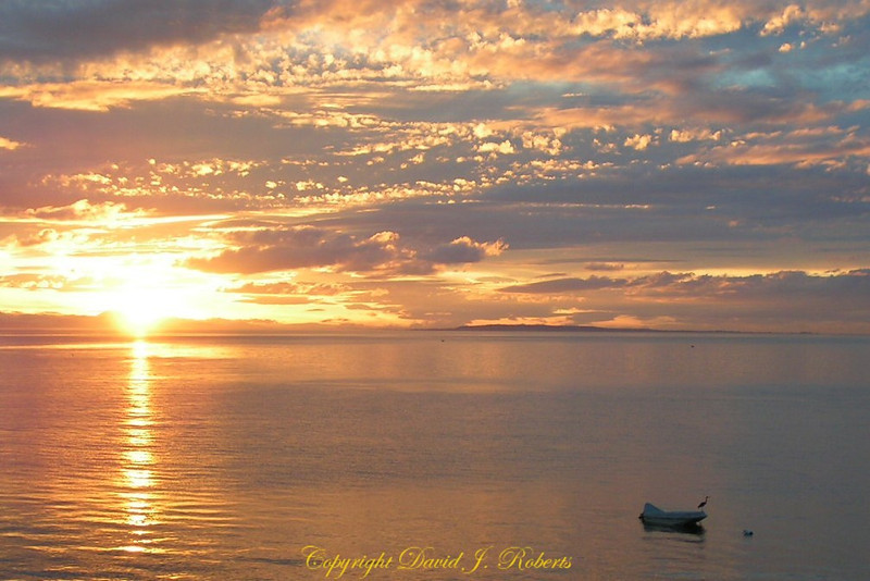 Sunset over Birch Bay WA with a boat and heron
