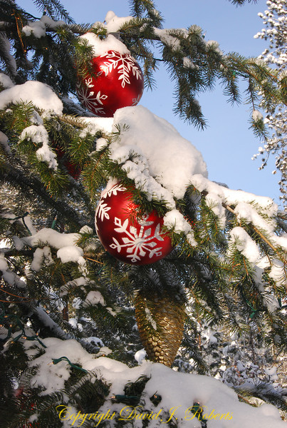 Ornaments in a tree with snow, Sleeping Lady Lodge, Leavenworth Washington