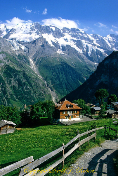 Gimmelvald School with Jungfrau in the distance Switzerland