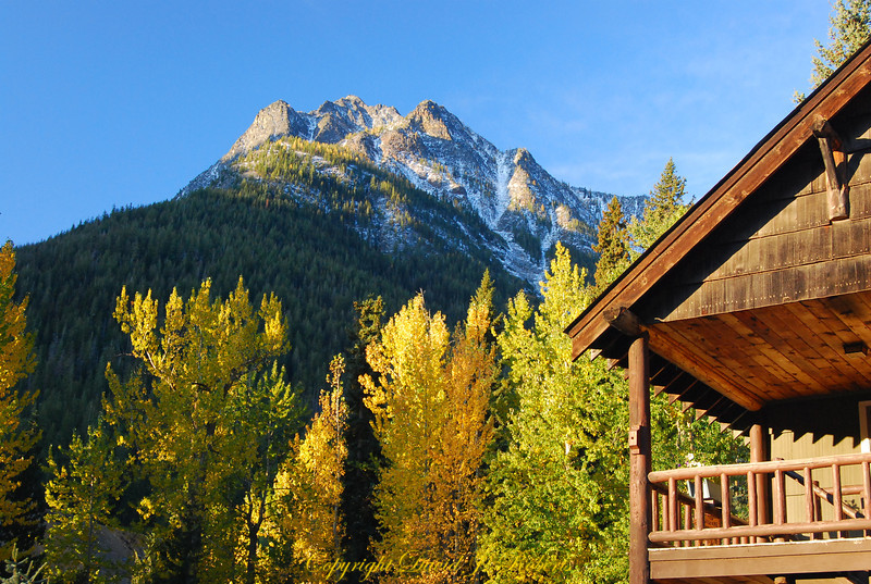 Holden ViIlage in autumn colors with Copper Mountain in the background.