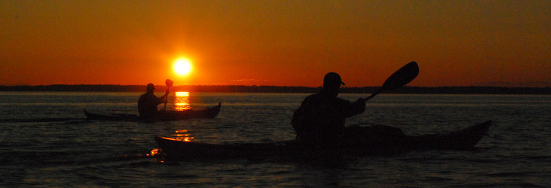 Kayaking at sunset on Bellingham Bay - panorama