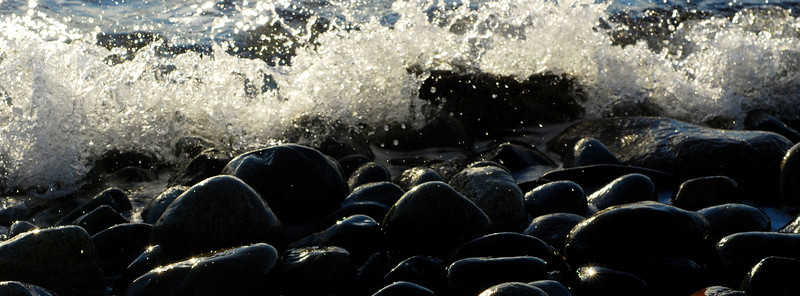 Waves in the cobbles at Point Whitehorn County Park