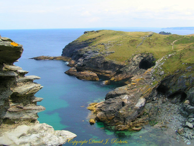 View of the inlet below Tintagel Castle, Cornwall, England