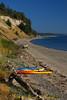 Kayaks on the beach at Fort Flagler State Park, Washington