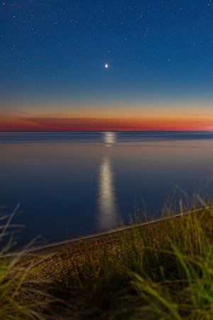 Venus Reflects Off of Lake Michigan