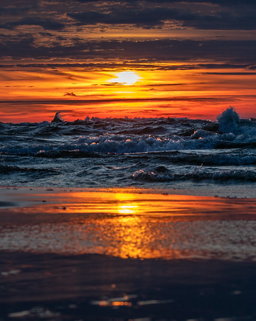 Lake Michigan Churns at Sunset