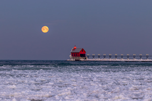 Winter Moonset in Grand Haven