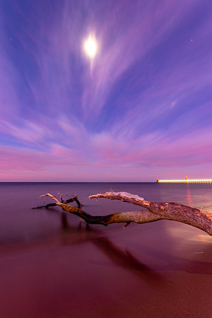 The Moon Shines Over Grand Haven Beach
