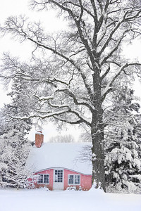 Pink House in the winter at Planting Fields