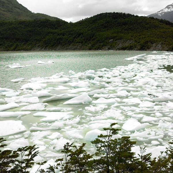 Glacial lake, Straights of Magellan, Chile, October, 2007