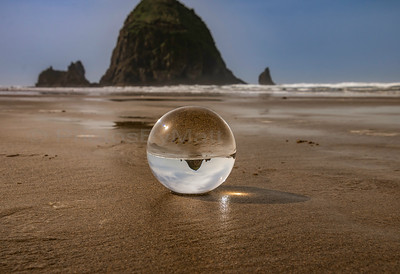 Haystack Rock a la Lens Ball. Canon Beach, OR 04/09/2018