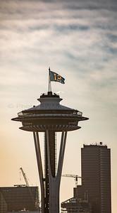 Game Day Needle.  Kerry Park, Seattle, WA. 01/14/2017