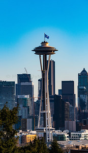 Space Needle flying  the 12th Man flag. 01/14/2017