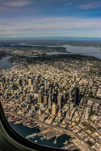 Downtown Seattle, with Lake Union and Lake Washington taken from Alaska Airlines Flight 605 from Las Vegas 04/16/2016