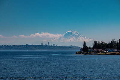 Seattle and Mount Rainier taken from Kingston, WA. 07/19/2017