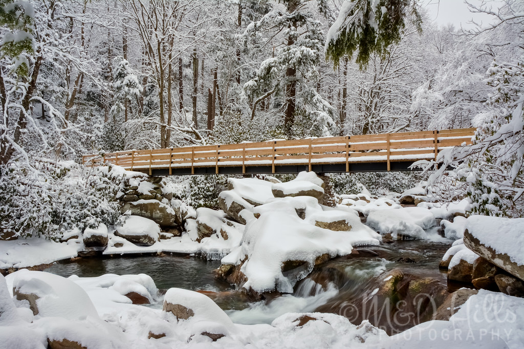 Snowy Bridge At Chimney Tops