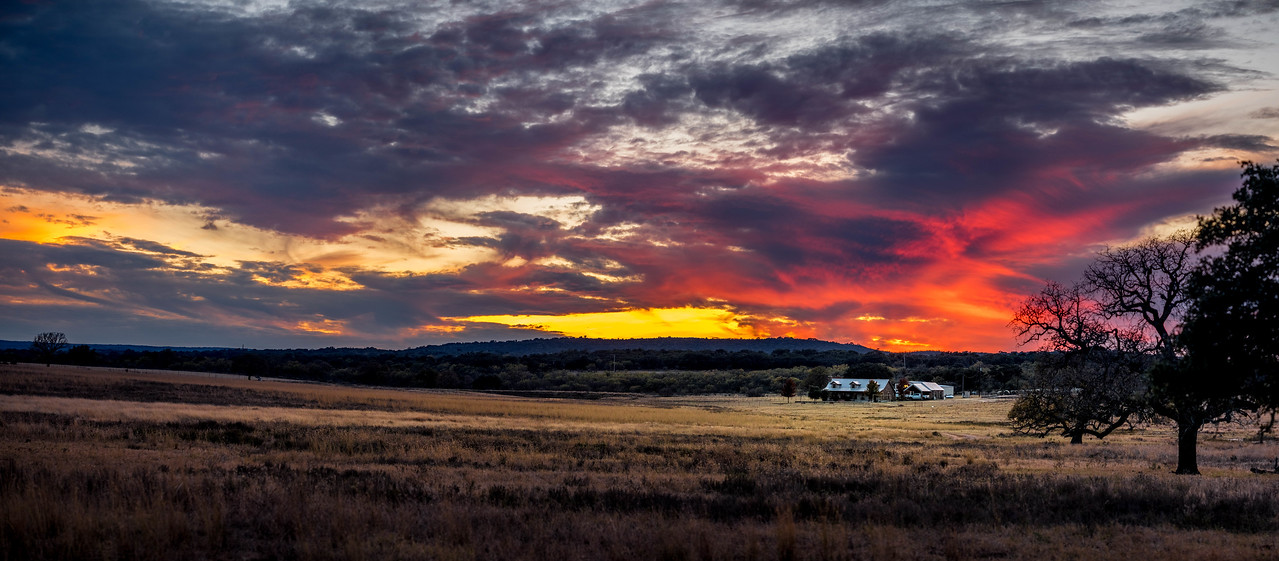 Hill Country Big Sunset Pano