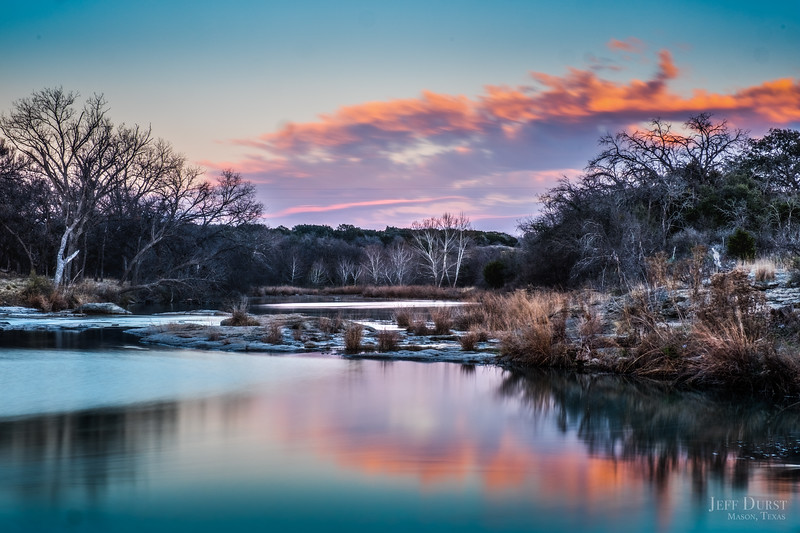 San Saba River Winter White-Blue