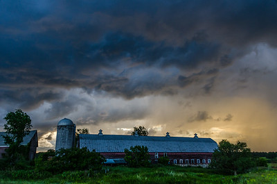 Barn at Sunset During Storm