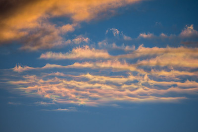 Cloud iridescence in the winter at sunset