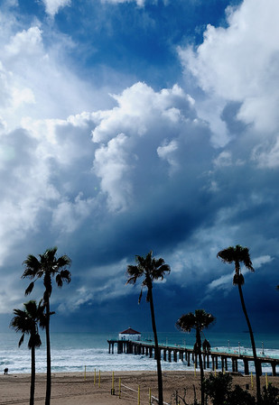 """""""Storm Break"""".  Thunderheads approaching Manhattan Beach during a series of storms. Image published on the Front Cover of the """"South Bay Monthly"""" Magazine, March 2010 (Manhattan Beach, Hermosa, Beach, Redondo Beach & El Segundo issue)."""