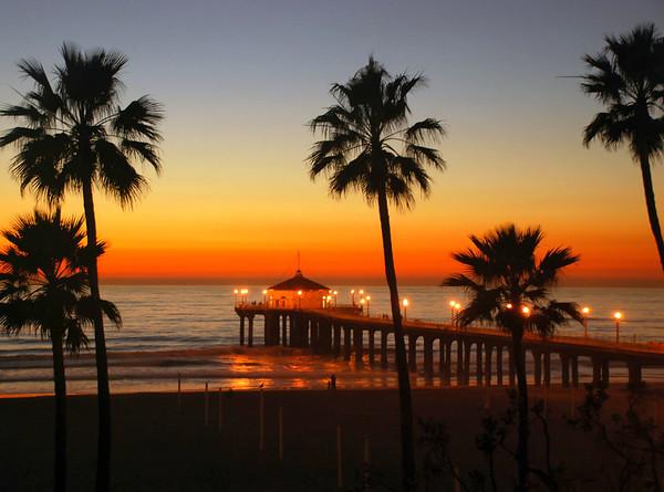 """""""Calm Winter Sunset"""".  Manhattan Beach Pier, Manhattan Beach, CA"""