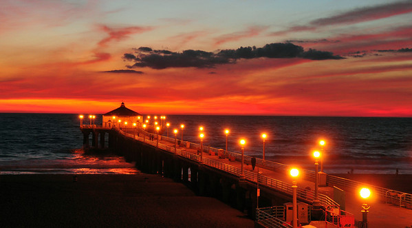 """November Sunset"".  Manhattan Beach Pier, Manhattan Beach, CA.   Image published on the Front Cover of the ""South Bay Monthly"" Magazine, December 2011 (Manhattan Beach, Hermosa Beach, Redondo Beach & El Segundo Issue)."