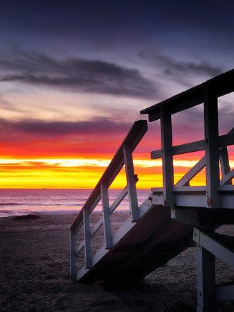 """""""Last Light"""". Manhattan Beach lifeguard tower at twilight. Image published on the Front Cover of the """"South Bay Monthly"""" Magazine, March 2010 (San Pedro, Palos Verdes Lomita & Harbor City Issue)."""