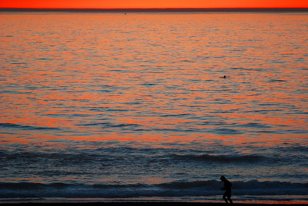 """""""Dophin and Runner"""".  Sunset during Malibu fires Jan. 8th, 2007.  View from  Manhattan Beach, CA"""
