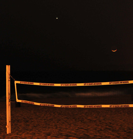 """Crescent Moon and Venus Conjuction "".  Crescent Moon and Venus setting over a Manhattan Beach volleyball court.  4/1/5/10"