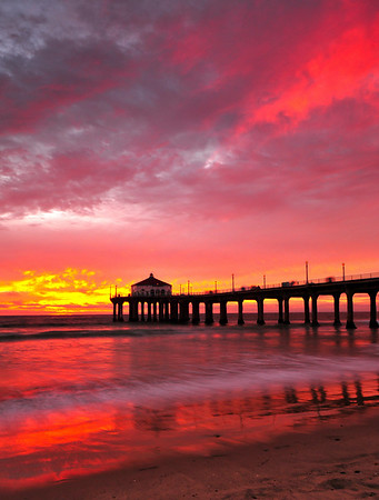 """Valentine's Sunset"".  Image published on the Front Cover of the ""South Bay Monthly"" Magazine, January 2012 (Manhattan Beach, Hermosa Beach, Redondo Beach & El Segundo Issue)."
