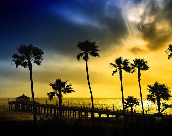 """The Solar Eclipse"", 6:34 PM, 5/20/12. View from the Manhattan Beach Pier.   Image published on the Front Cover of the ""South Bay Monthly"" Magazine, July 2012 (Manhattan Beach, Hermosa Beach, Redondo Beach & El Segundo Issue)."