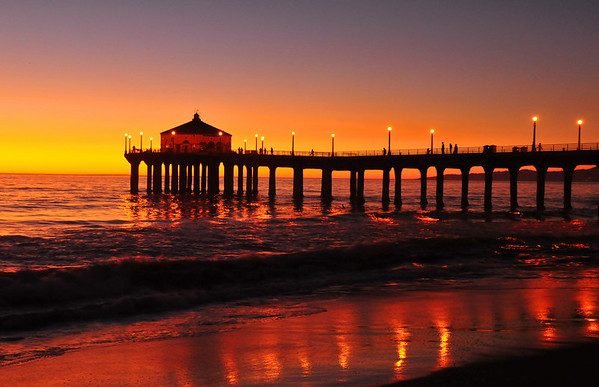 """November Glow"". Manhattan Beach Pier, Manhattan Beach, CA.<br /> Image published on the front cover of the ""South Bay Monthly"" Magazine, August 2010 (Manhattan Beach, Hermosa, Beach, Redondo Beach & El Segundo issue)."