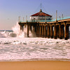 """Big Wednesday Sand View"". Large swells off the Manhattan Beach Pier 12/5/07. Manhattan Beach, CA"