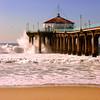 """Big Wednesday Sand View"". Large swells off the Manhattan Beach Pier 12/5/07. Manhattan Beach, CA"