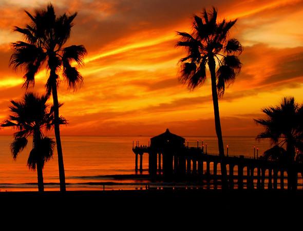 """Fall Orange Sunset"". Manhattan Beach Pier."