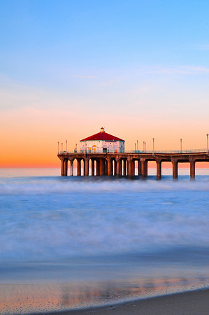 """Peaceful"". Sunrise at the pier.  Image published on the Front Cover of the ""South Bay Monthly"" Magazine, April 2010 issue (Manhattan Beach, Hermosa Beach, Redondo Beach & El Segundo Issue)."